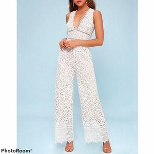 LULU'S Amora White Lace Jumpsuit